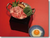 松茸入りすき焼き小鍋